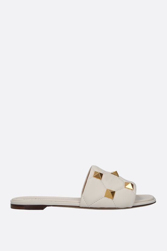VALENTINO GARAVANI: Roman Stud quilted nappa slide sandals Color Neutral_1
