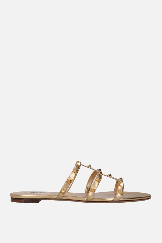 VALENTINO GARAVANI: Rockstud laminated nappa slide sandals Color Neutral_1