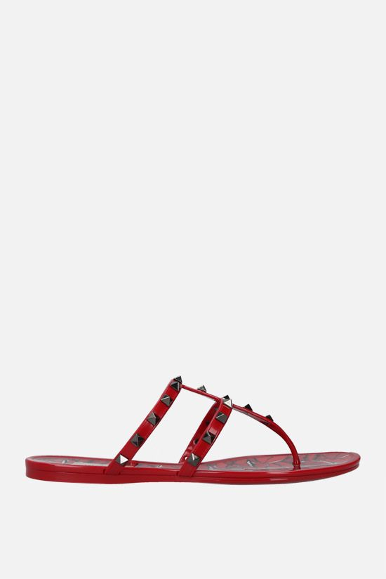 VALENTINO GARAVANI: Rockstud PVC thong sandals Color Red_1