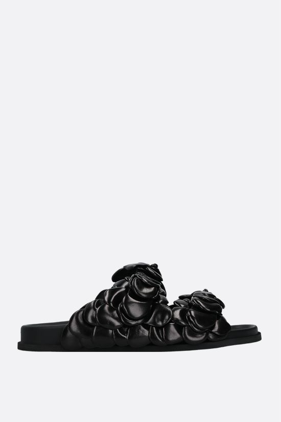 VALENTINO GARAVANI: Atelier Shoe 03 Rose Edition shiny leather slide sandals Color Black_1