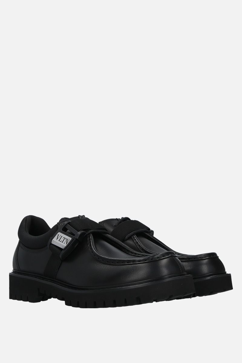 VALENTINO GARAVANI: VLTN smooth leather loafers Color Black_2