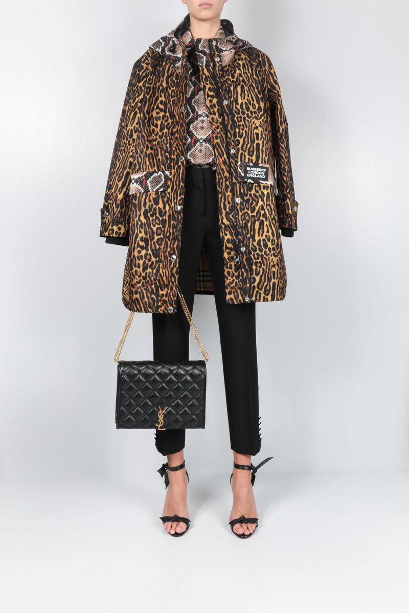 BURBERRY: Cramond parka in animal printed nylon Color Animalier_2
