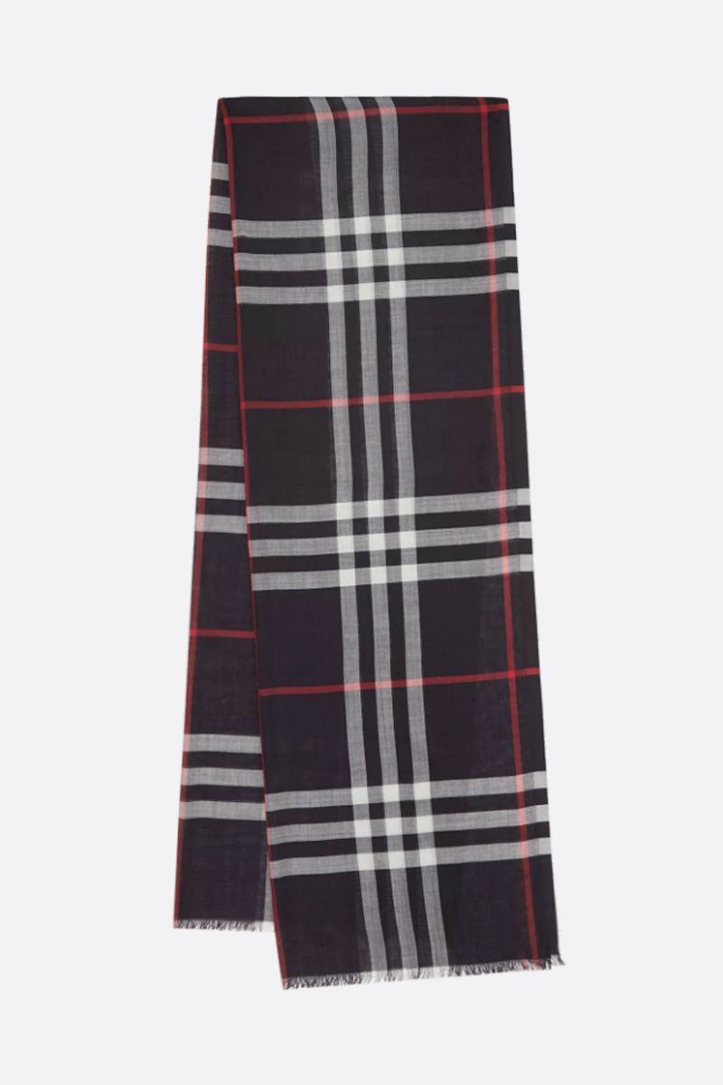 BURBERRY: Giant check wool silk blend scarf Color Blue_2
