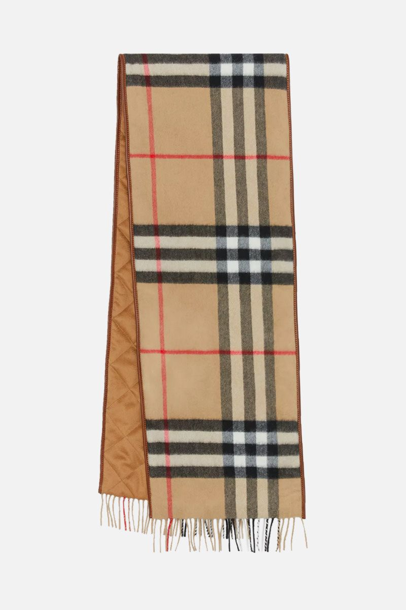 BURBERRY: cashmere padded scarf with leather trims Color Neutral_2