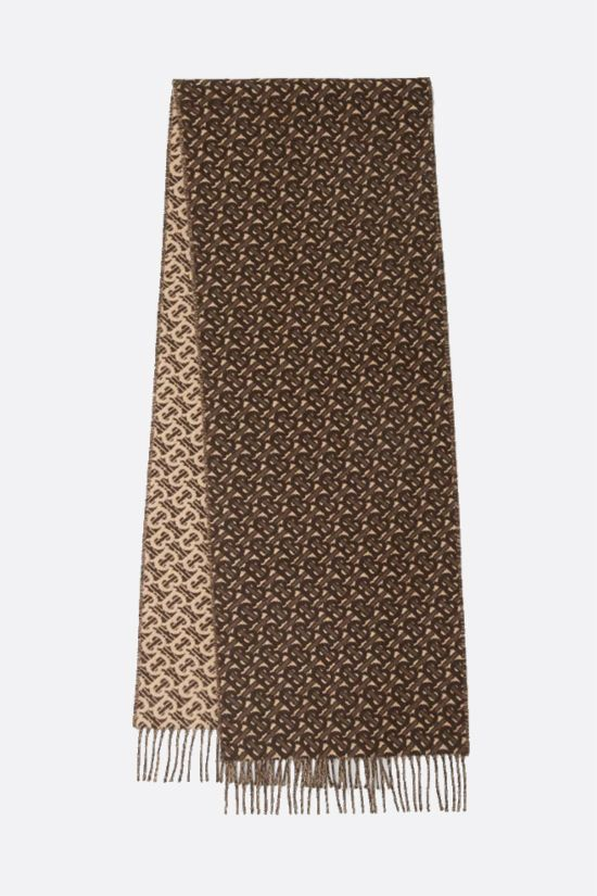 BURBERRY: cashmere scarf with TB monogram Color Brown_2