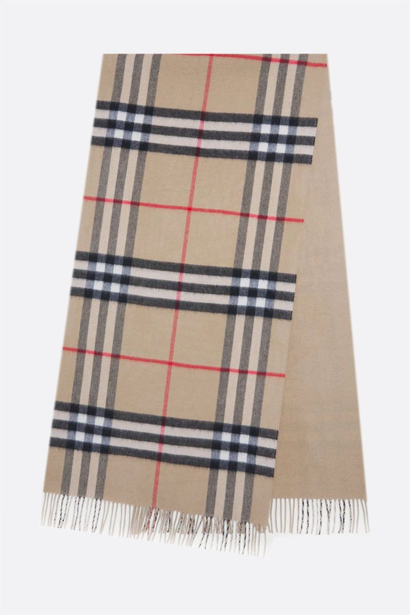 BURBERRY: reversible check cashmere scarf Color Neutral_2