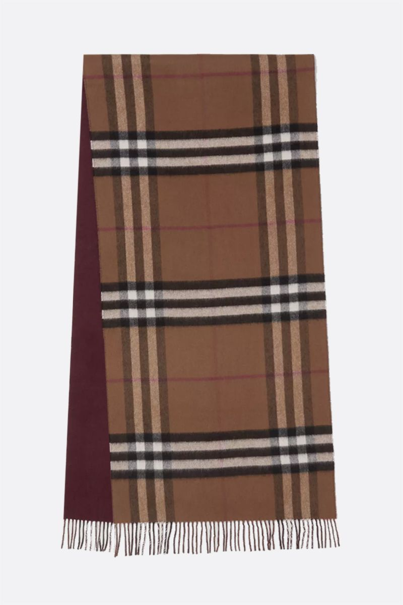 BURBERRY: reversible check cashmere scarf Color Brown_2