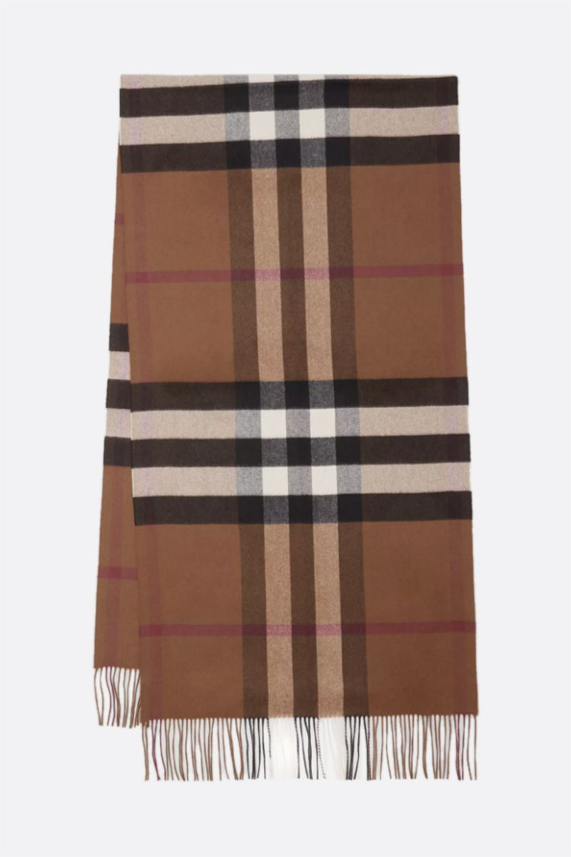 BURBERRY: check cashmere oversized scarf Color Neutral_2