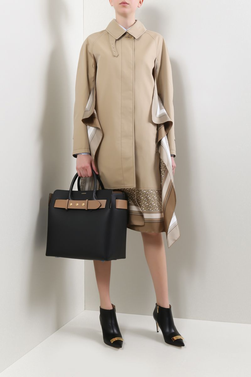 BURBERRY: gabardine single-breasted trench coat with twill inserts Color Brown_2