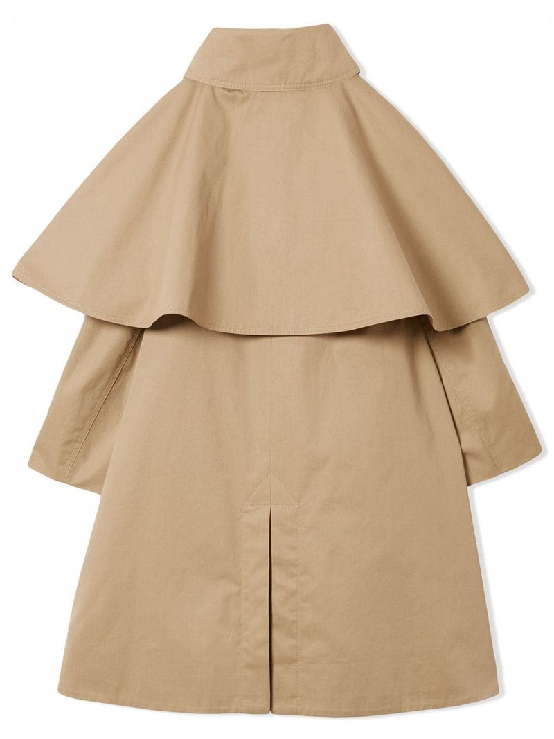 BURBERRY CHILDREN: cotton twill single-breasted trench coat with cape detail Color Yellow_2