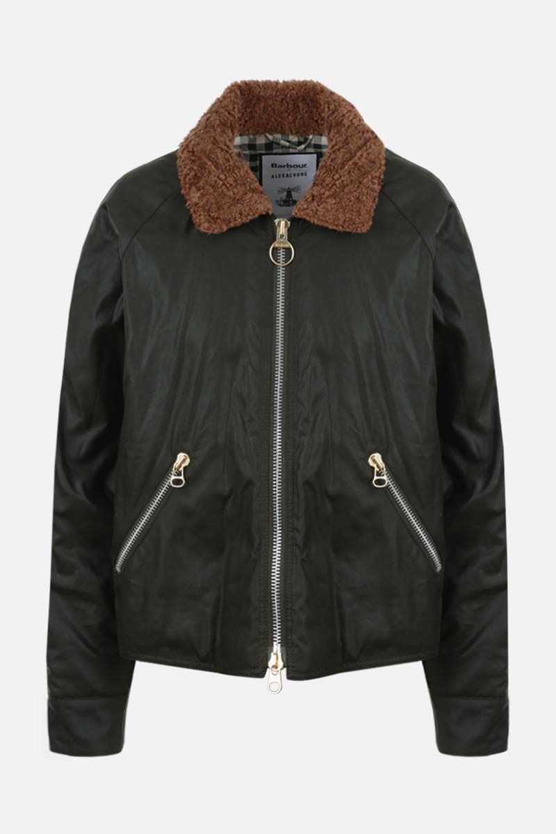 BARBOUR BY ALEXA CHUNG: Floyd waxed canvas padded jacket Color Green_1