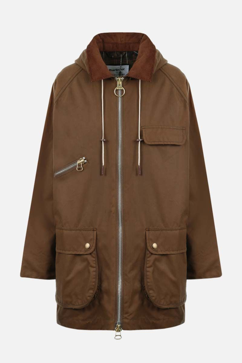 BARBOUR BY ALEXA CHUNG: Violet waxed canvas full-zip jacket Color Brown_1