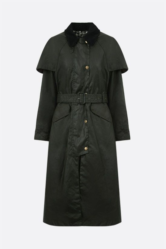 BARBOUR BY ALEXA CHUNG: Trudie waxed canvas trench coat Color Green_1
