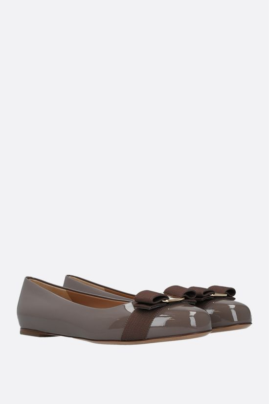 SALVATORE FERRAGAMO: Varina patent leather ballerinas Color Brown_2