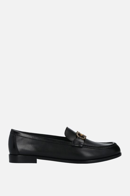 SALVATORE FERRAGAMO: Rolo smooth leather loafers Color Black_1