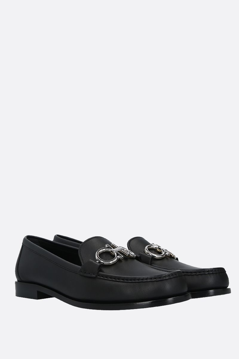 SALVATORE FERRAGAMO: Rolo smooth leather loafers Color Black_2