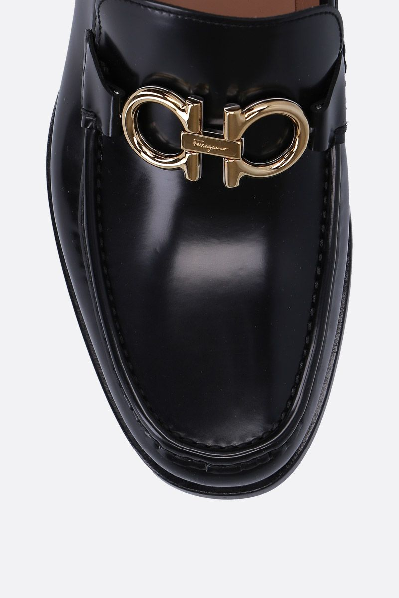 SALVATORE FERRAGAMO: Rolo loafers in shiny leather Color Black_4