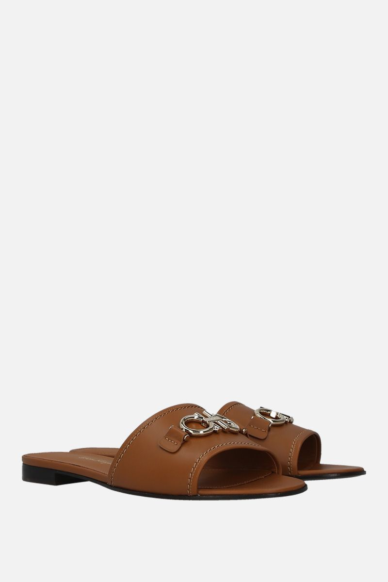 SALVATORE FERRAGAMO: Rhodes smooth leather slide sandals Color Brown_2