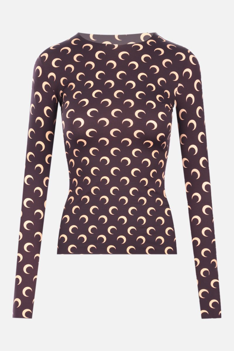 MARINE SERRE: Second Skin Moon recycled technical fabric top Color Brown_1