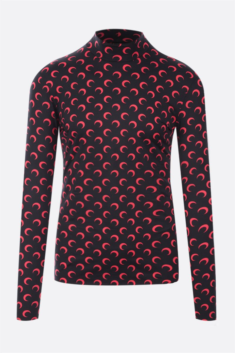 MARINE SERRE: Second Skin Moon recycled technical fabric top Color Black_1