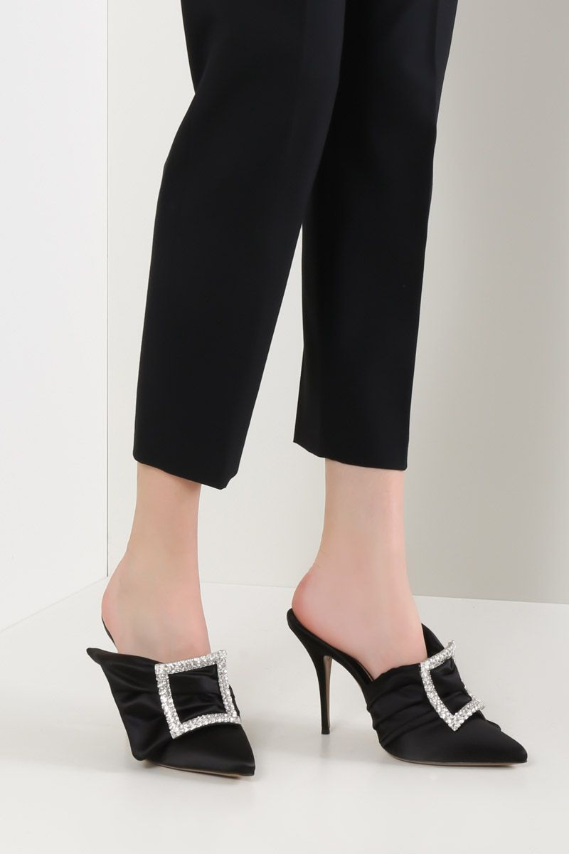 ALEXANDRE VAUTHIER: Lola satin mules Color Black_2