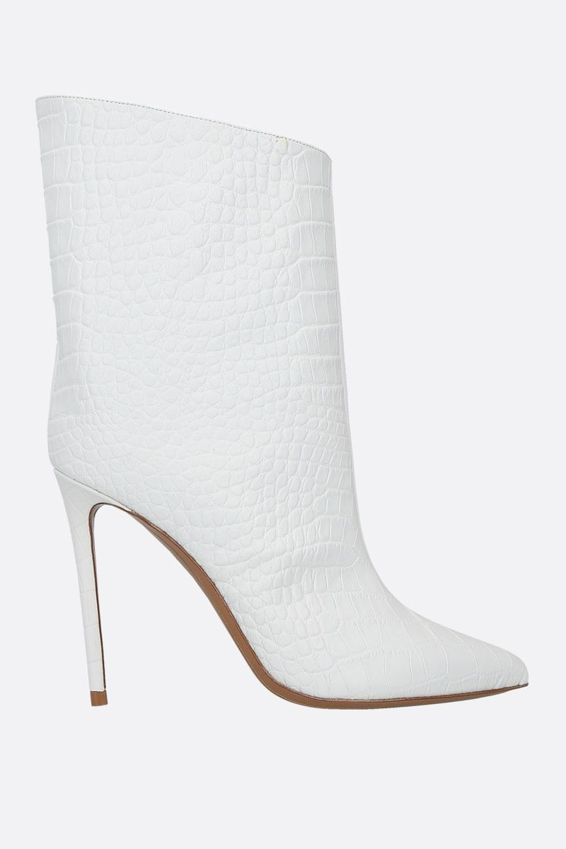 ALEXANDRE VAUTHIER: Alex crocodile embossed leather booties Color White_1