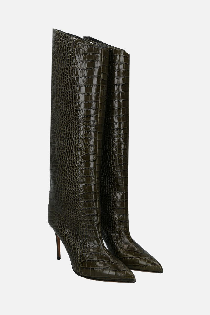 ALEXANDRE VAUTHIER: Alex crocodile embossed leather boots Color Green_2