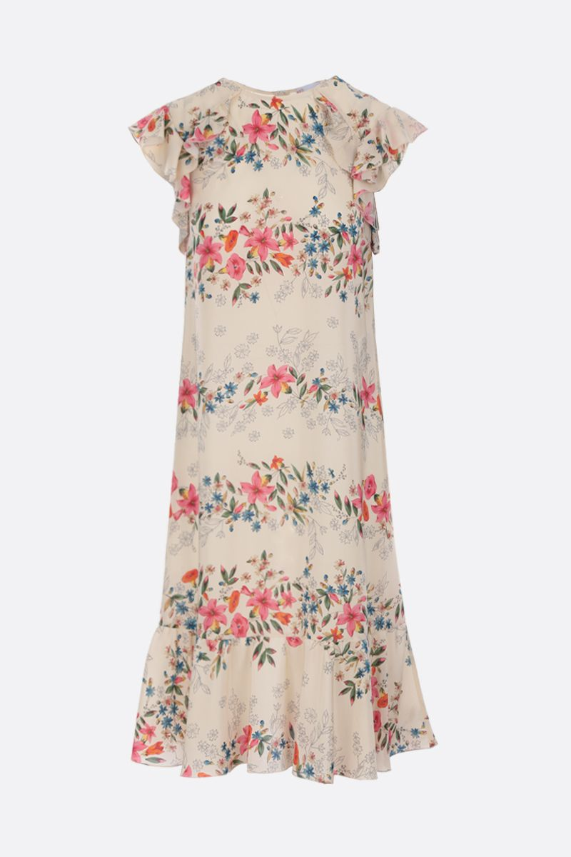 RED VALENTINO: floral printed crepe de chine short dress Color White_1