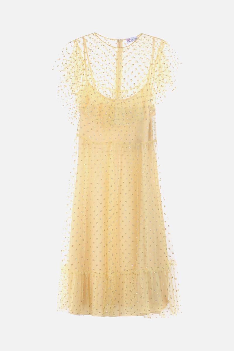 RED VALENTINO: glitter polka dot tulle sleeveless dress Color Yellow_1