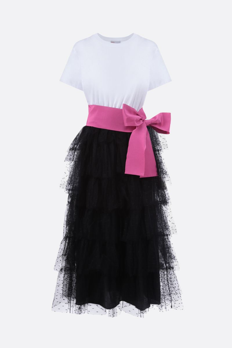 RED VALENTINO: point d'esprit tulle and jersey midi dress Color White_1