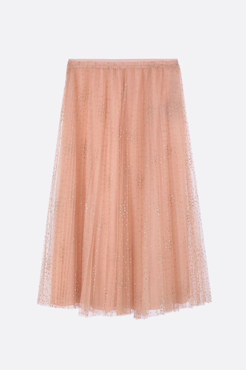 RED VALENTINO: glitter polka dot tulle pleated skirt Color Pink_1