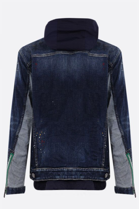 DSQUARED2: denim jacket with matching nylon vest Color Blue_2