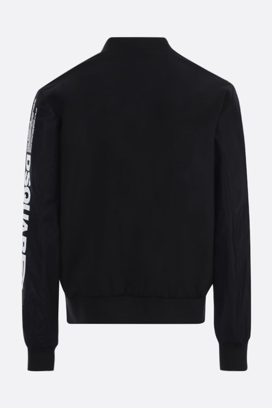 DSQUARED2: logo print stretch wool and mesh bomber jacket Color Black_2