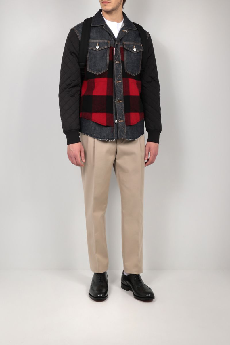 DSQUARED2: nylon, flannel and denim overshirt Color Blue_2