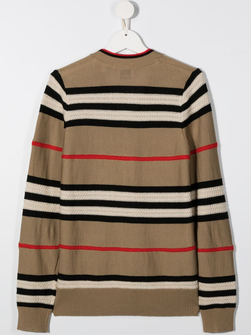 BURBERRY CHILDREN: Icon Stripe wool cashmere blend cardigan Color Neutral_2