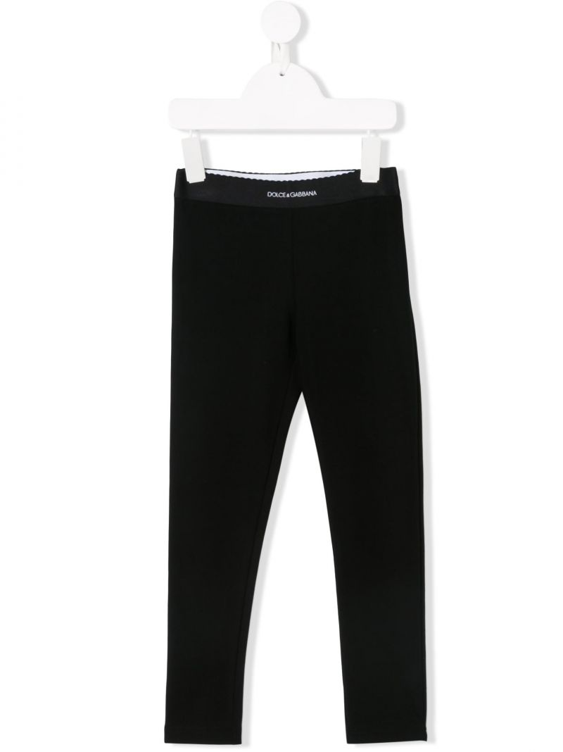 DOLCE & GABBANA CHILDREN: jersey leggings with jacquard logo Color Black_1