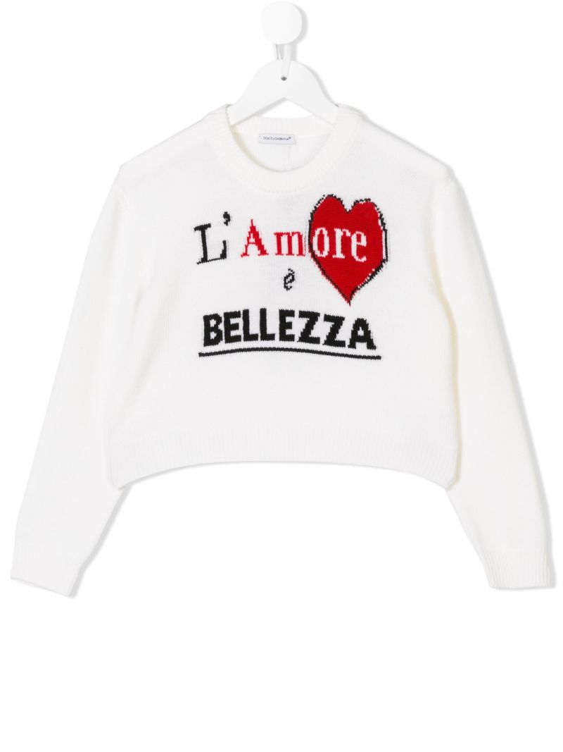 DOLCE & GABBANA CHILDREN: wool pullover with intarsia Color White_1