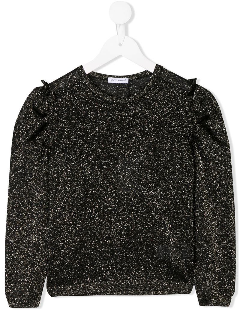 DOLCE & GABBANA CHILDREN: lurex pullover with ruched detail Color Black_1