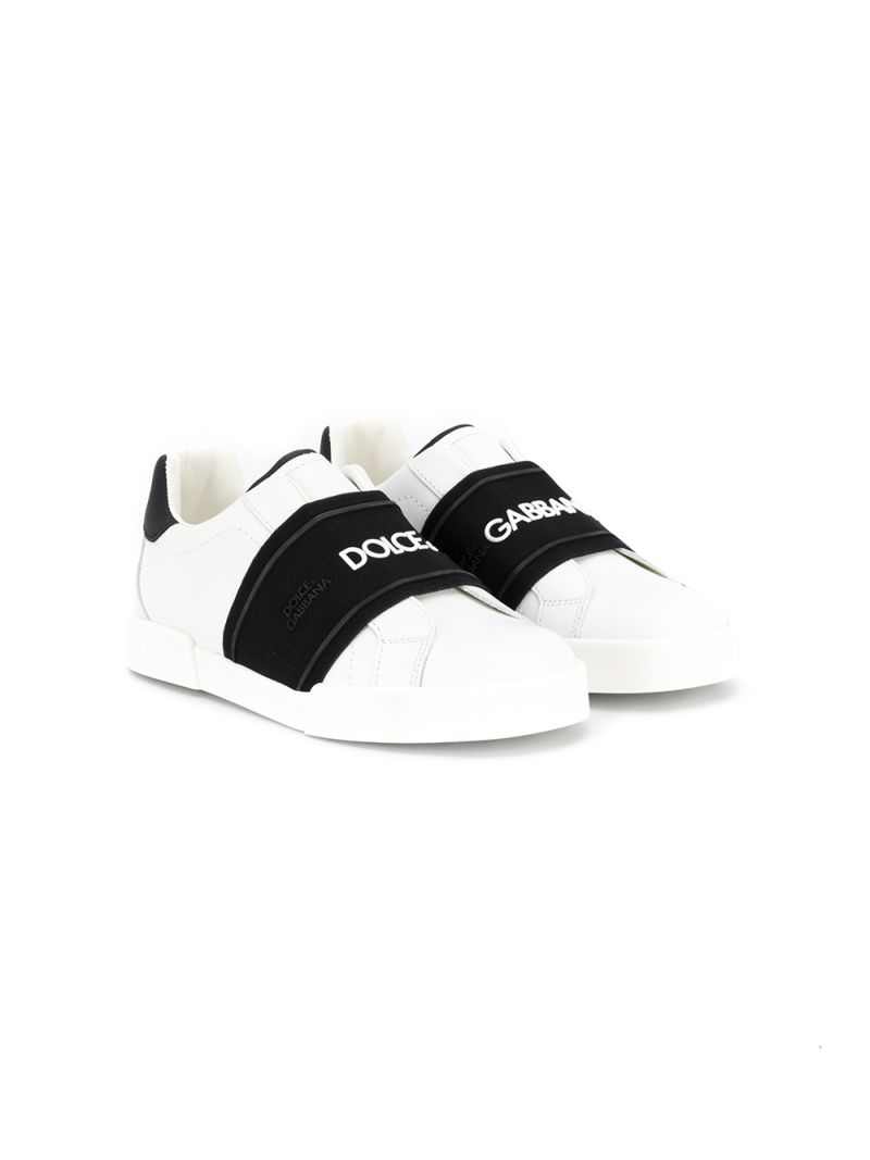 DOLCE & GABBANA CHILDREN: Portofino slip-on sneakers in smooth leather Color Grey_1