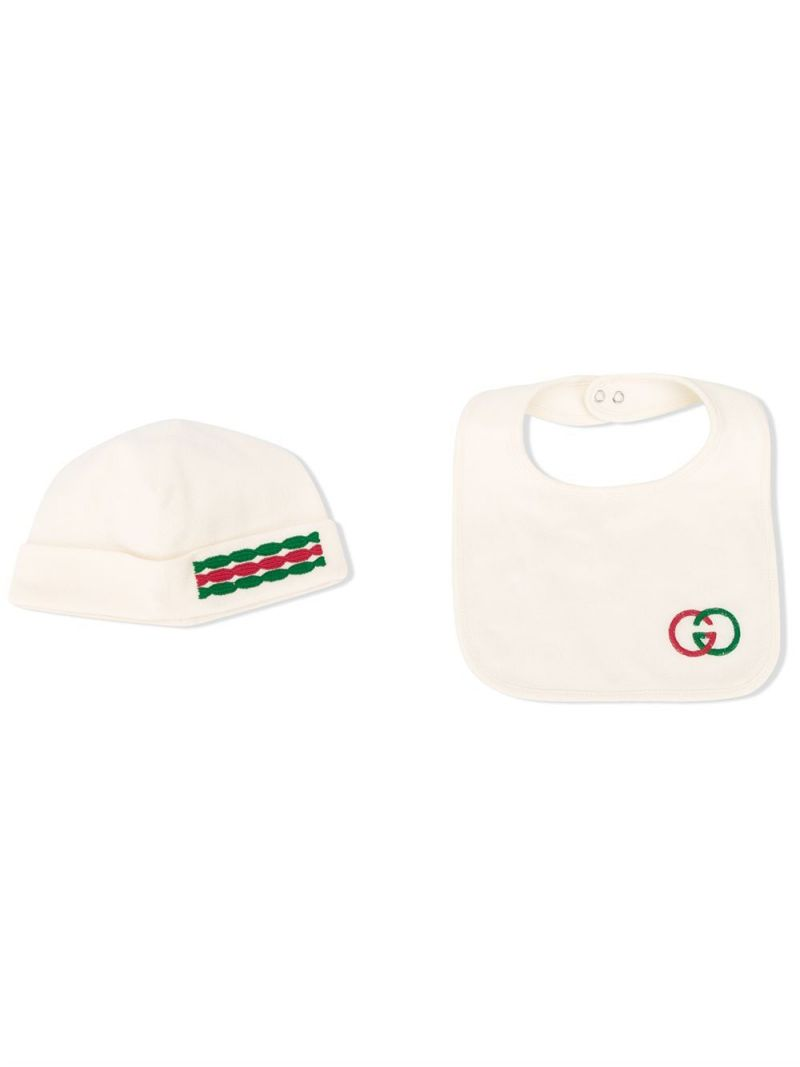 GUCCI CHILDREN: cotton blend playsuit, bib and beanie_1