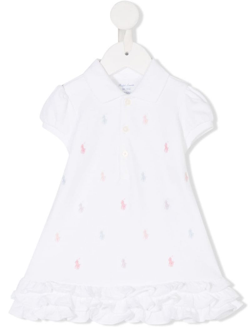 RALPH LAUREN KIDS: logo embroidered cotton polo dress Color White_1