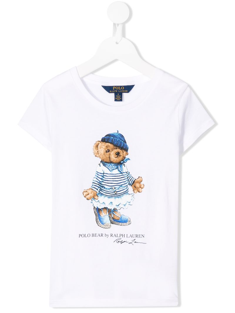 RALPH LAUREN KIDS: Polo Bear print jersey t-shirt Color White_1