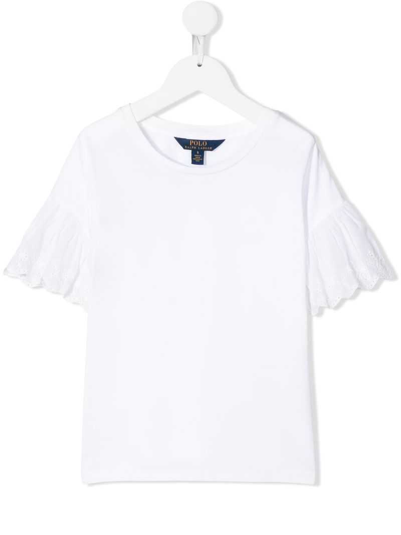 RALPH LAUREN KIDS: cotton blend t-shirt with broderie anglaise inserts Color White_1
