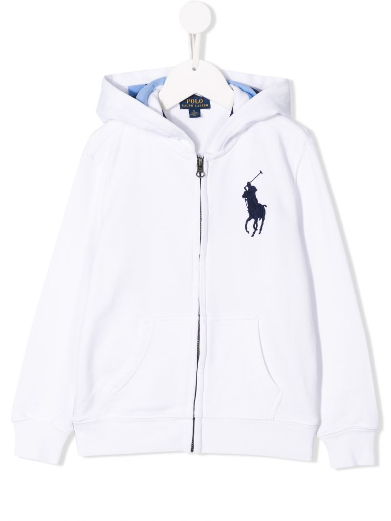 RALPH LAUREN KIDS: Big Pony embroidered jersey hoodie Color White_1