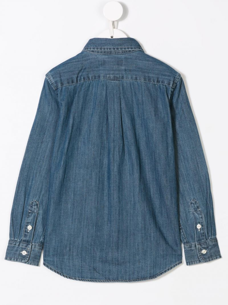 RALPH LAUREN KIDS: logo embroidered denim shirt Color Blue_2
