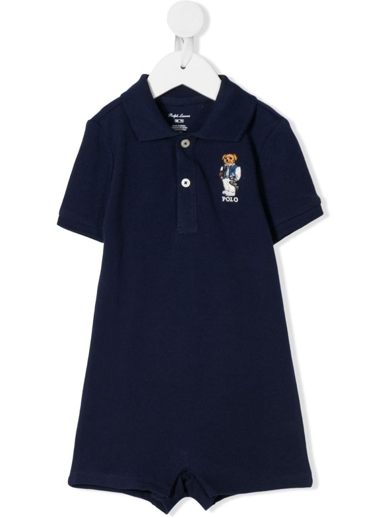 RALPH LAUREN KIDS: Football Bear embroidered cotton playsuit Color Blue_1