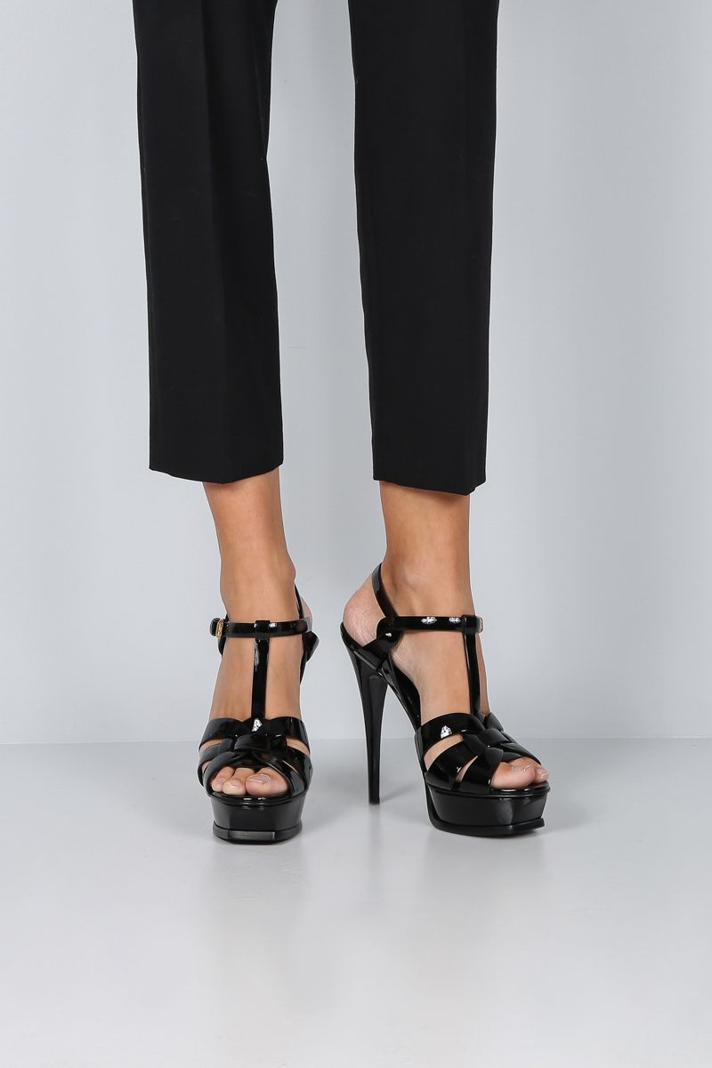 SAINT LAURENT: Tribute platform sandals in patent leather Color Black_2