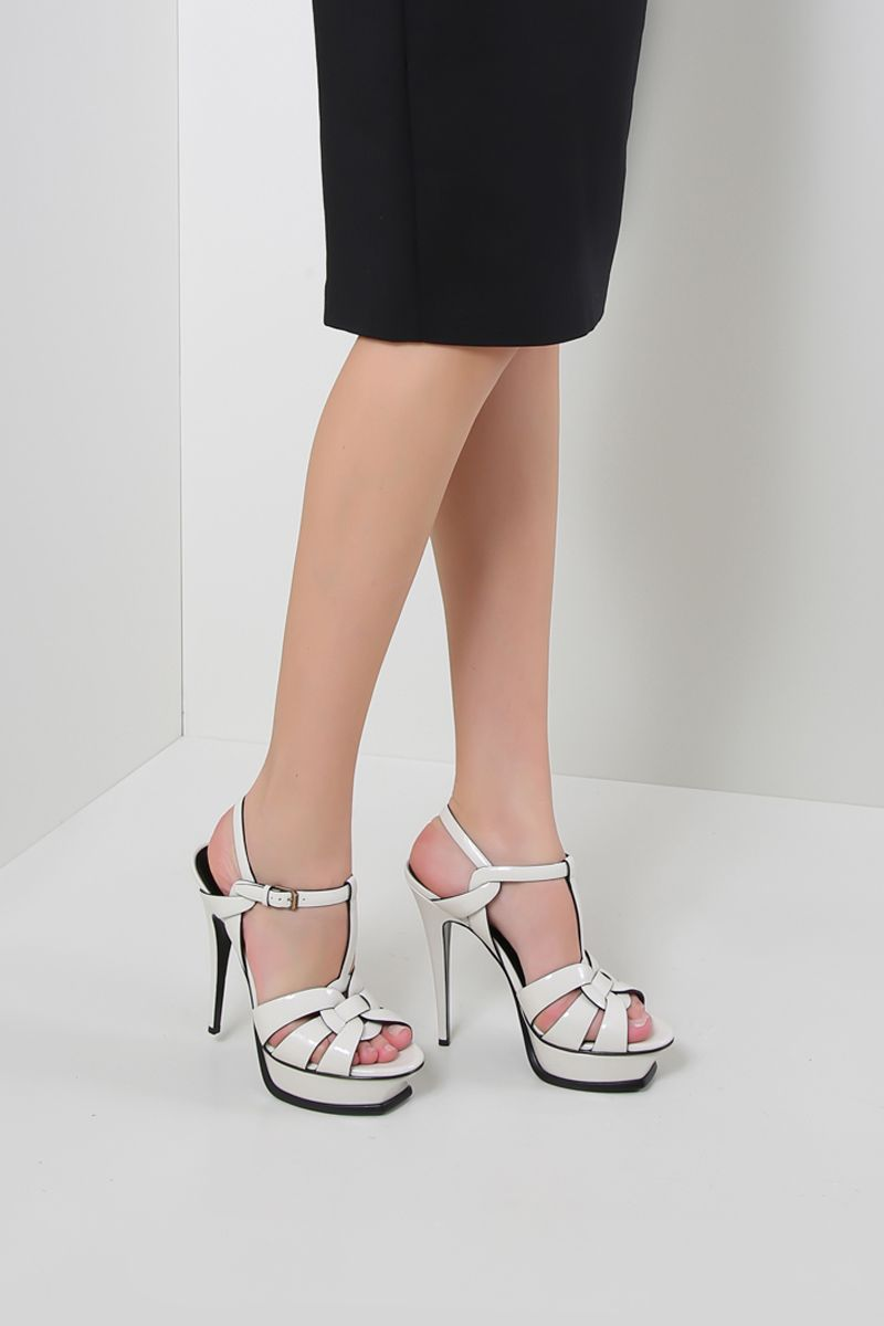 SAINT LAURENT: Tribute patent leather sandals Color Neutral_2