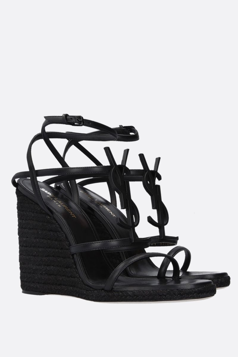 SAINT LAURENT: Cassandra smooth leather wedge sandals Color Black_2