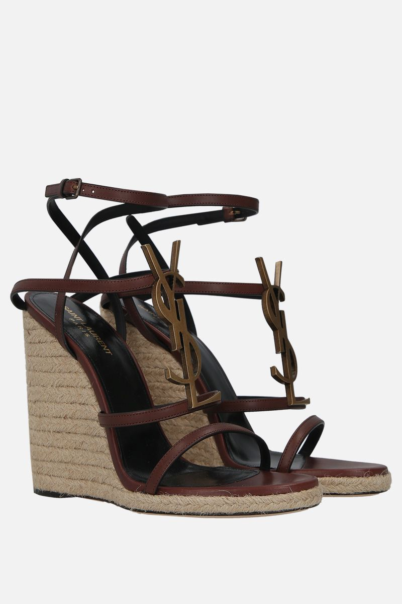 SAINT LAURENT: Cassandra smooth leather wedge sandals Color Brown_2
